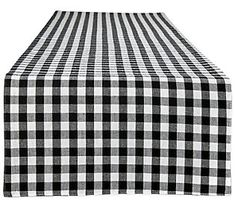 Gracie Oaks Fairlawn Red/White Reversible Gingham/Buffalo Checktable Runner Color: Black/White, Size: x Table Runner Size, Striped Table Runner, Table Runners, Lace Runner, Thing 1, Dining Tables