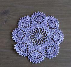Crochet Doily in purple lavendar: table decor, home decor by NadoandLola on Etsy Crochet Doilies, Free Pattern, Coasters, Crochet Earrings, Table Decorations, How To Make, Cotton, Handmade, Etsy