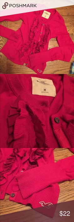 Pink Ruffled Cardigan Hollister ruffled cardigan worn only a handful of times Hollister Tops Tees - Long Sleeve