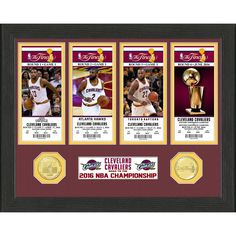 """Cleveland Cavaliers Highland Mint 2016 NBA Finals Champions 12"""" x 12"""" Ticket Collection Photo with 39mm Bronze Coin"""