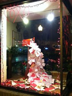 Another great display for valentines day display christmas window display retail Christmas Window Display Retail, Christmas Shop Displays, Store Window Displays, Christmas Store, Christmas Windows, Retail Displays, Christmas Holiday, Winter Window Display, Christmas Letters