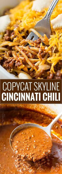 Copycat Skyline Cincinnati Chili | Unique and flavorful, this regional chili is rich, meaty, packed with spices, and can be served in so many ways!  Try Cincinnati's spin on chili! | https://www.thechunkychef.com