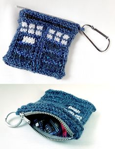 Free Knitting Pattern for TARDIS Coin Purse - Possibly not bigger on the inside! according the the designer Claire Sears. Knit flat or in the round, the look of Doctor Who's police box transport is created with knit and purl stitches with intarsia or duplicate stitch.