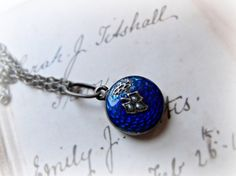 Victorian Blue Enamel & Seed Pearl Mourning Locket