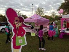 Flat Gloria at the Pink Warriors tent at the Komen Acadian Race for the Cure in Lafayette, LA