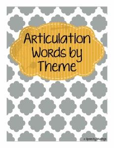 Speechy Musings: Articulation Words by Theme. Pinned by SOS Inc. Resources. Follow all our boards at pinterest.com/sostherapy for therapy resources.