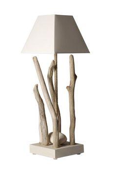 Lampe à poser Nature bois flotté 65 cm - Coc'art Créations