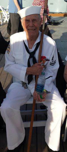 Former BB55 Crew Member, Dale States, joins the Battleship NORTH CAROLINA for Memorial Day 2015