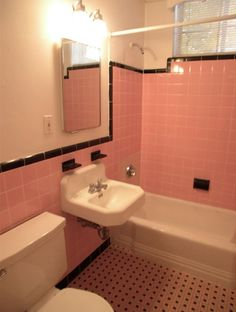 High Quality 33 Pink And Black Bathroom Tile Ideas And Pictures Part 26