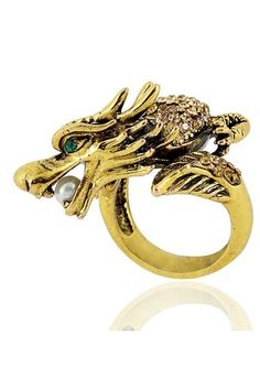 Ring crafted metal with a gold-tone finish, featuring the winding dragon design with multi rhinestones to the back and a faux pearl in the mouth, vintage and chic.$39