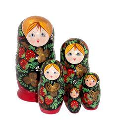 Käsinmaalattu venäläinen punamusta mansikkamaatuskanukke Sissi, Accessories, Jewelry Accessories