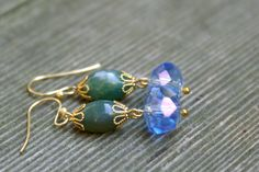 Green Stone Blue Crystal and gold dangle earrings by SCBeads