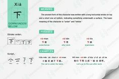 learn Chinese characters- 下 down