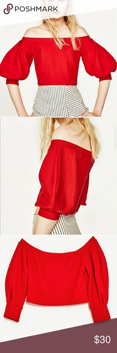 NEW! Zara Red Off The Shoulder Crop Top Size Large New w/Tags. Size Large. Fast Immediate Priority Shipping! Please visit my closest for additional designer items.Thank you. Zara Tops