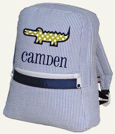 094cd2af776 Backpack Personalized Alligator Seersucker Monogrammed Boys Children  Toddler Baby Backpack