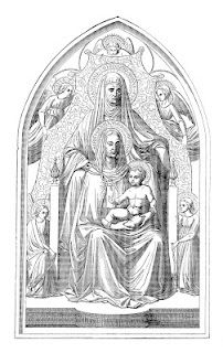 Antique Images: Religious Clip Art: Vintage Black and White Illustration of Mary and Baby Jesus