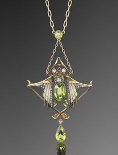 Art Nouveau Plique é Jour Enamel Peridot and Diamond Pendant Necklace by Gautrait, circa 1900