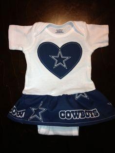 Dallas Cowboys Girls Ruffle Onesie. $25.00, via Etsy.