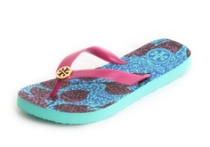 Amazon.com: Tory Burch Printed Pattern Logo Flip Flops in Multiple Colors: Shoes