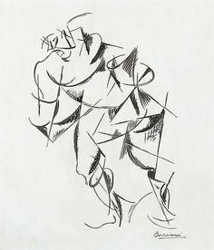 Umberto Boccioni - Dinamismo del cuerpo humano: Boxeador Medium Indian ink on paper