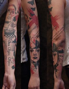 Graphic half-tone sleeve with dotwork, fonts and artwork. I love the red and black combo,