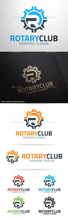 The Rotary Club Letter R Logo Template A modern and professional vector logo with the letter R in a cog wheel. All elements can b