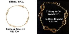 Bracelete inspirado no Endless Bracelet da loja Tiffany & Co. que custa US$500 (equivalente a R$1.900) <br> <br>Comprimento da pulseira aberta: 20cm