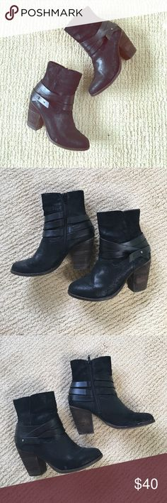 Black booties Honestly every time I wear it if someone asks me if they're rag&bone, but they are not --they're from Aldo! leather upper, super comfortable wooden stacked heel. Made it to look worn but are in good/great used condition. Aldo Shoes Ankle Boots & Booties
