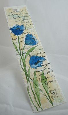 Original Watercolor Floral Bookmark blue par Wildflowerhouse