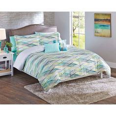Better Homes & Gardens Full or Queen Cascading Waves Comforter Set, 5 Piece, Blue Beach House Colors, Walmart Home, Better Homes And Gardens, Comforter Sets, Walmart Shopping, Comforters, Home And Garden, Waves, Blanket