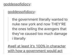 That's why it pisses me off that they OOC'd Tony so he would agree with them. An In-Character Tony would NOT be on the government's side. That movie made no fucking sense. I lost my faith in the MCU long before Civil War, but that movie just justified it. Marvel Funny, Marvel Memes, Marvel Dc Comics, Marvel Avengers, Avengers Memes, Nos4a2, I Understood That Reference, Dc Memes, The Villain