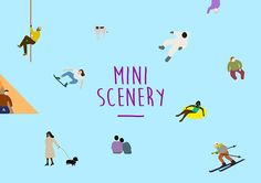 <Mini Scenery>  Simple composition of plain figures meets various type of ordinary people around us, then form its own mini sceneries.