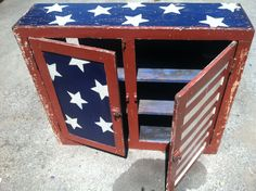 Finished product, upcycled American flag cabinet. DIY. hand painted. Distressed.