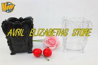 2 PC/LOT 8.5 X 8.5 X 10.5 CM mariposa de lujo pincel recipiente almacenamiento Pen canister. negro, transparente de color envío gratis