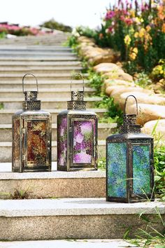 mosaics. Decorate the lantern with stained glass mosaic or stained glass paint.