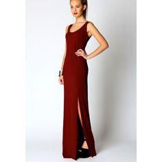 Vestido basico largo rojo con abertura