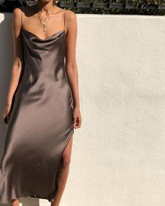 brown slip dress