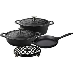 Rustle up all sorts of mouth-watering dishes with La Cuisine's PRO Enameled Cast Iron Cookware Set. This set includes the covered saute, covered round casserole and open skillet with cast iron handles. La Cuisine's PRO cast iron cookware is crafted using Casserole To Freeze, Searing Meat, Enameled Cast Iron Cookware, Cookware Set, Black Enamel, It Cast, Slate, Pots, Casseroles