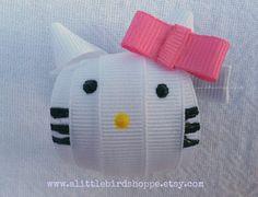 Hello Kitty inspired ribbon hair clip by alittlebirdshoppe on Etsy, $5.00