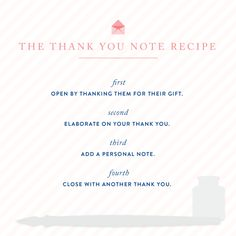 thank you note recipe (works every time!)