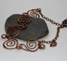 Handmade copper spirals necklace. £12.00