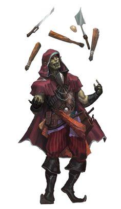 Male Half-Orc Bard Juggler - Pathfinder PFRPG DND D&D 3.5 5th ed d20 fantasy