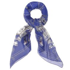 Alexander McQueen's Blue Armoured Skeleton and Rope Silk Scarf (55 inches x 55 inches) offers a fresh take on favorite McQueen themes, and is made of floaty, luxurious silk chiffon. $595
