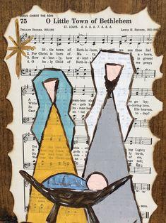 Christmas Manger, Christmas Art, Christmas Decorations, Sheet Music Crafts, Sheet Music Art, Hymn Art, Bible Art, Nativity Crafts, Book Crafts