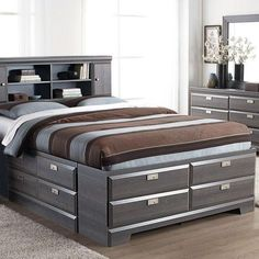 Storage Bed – flat to the ground to keep the cats from hiding stuff under the bed – storage to keep extra bedding and linens – prefer rich brown tones