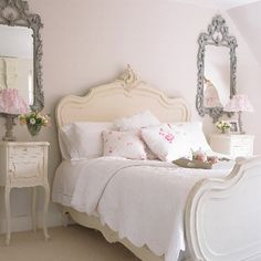 white with roses romantic country bedroom