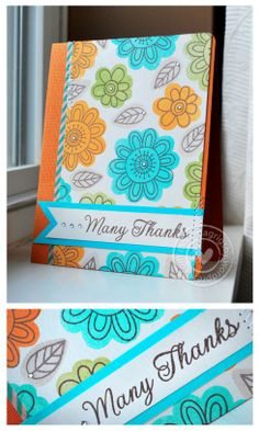 Doodle Flowers by Jane's Doodles, using reverse side of stamp, A JD Card