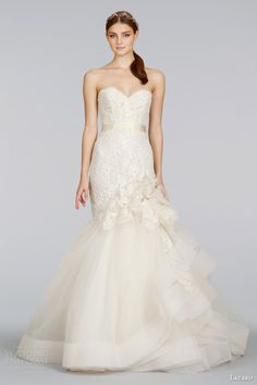 lazaro bridal spring 2014 strapless gold lace wedding dress style lz 3415