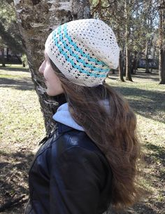 Slouchy spring hat for women white and blue cotton by MadeByKirsti