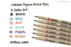 $15 Sakura Pigma Brush Pen - 6 Color  • Archival quality ink that is chemically stable, waterproof, and fade resistant.  • No smearing, feathering, or bleed-through on most papers.  • Thorough ink delivery to the sides and tip of the flexible felt brush.  • 9 colors are available.  • Meets ACMI non-toxicity standards.